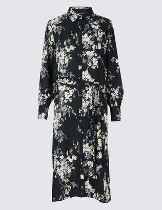 Marks and Spencer Floral Print Long Sleeve Shift Midi Dress