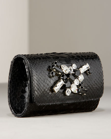Ted Rossi Python Crystal Box Clutch