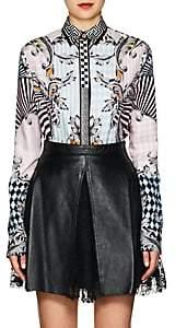 Versace Women's Harlequin-Print Silk Blouse