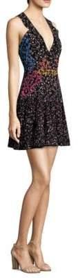 Saloni Amy Floral-Print Silk Dress