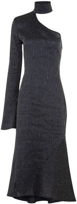 Beaufille Navy Pinstripe Hydrus One Shoulder Dress
