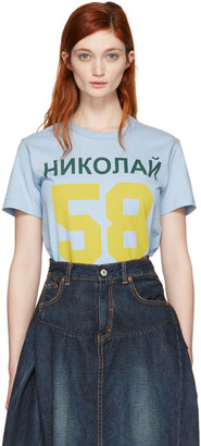 Junya Watanabe Blue Printed T-Shirt $180 thestylecure.com