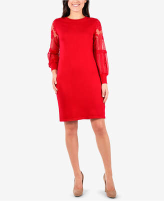 NY Collection Lace-Sleeve Sweater Dress