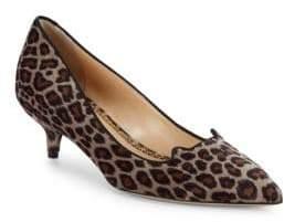 Charlotte Olympia Velvet Leopard Print Kitten Heel Pumps