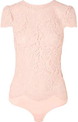 I.D. Sarrieri Nuit Ephemere Chantilly Lace And Satin Bodysuit - Baby pink