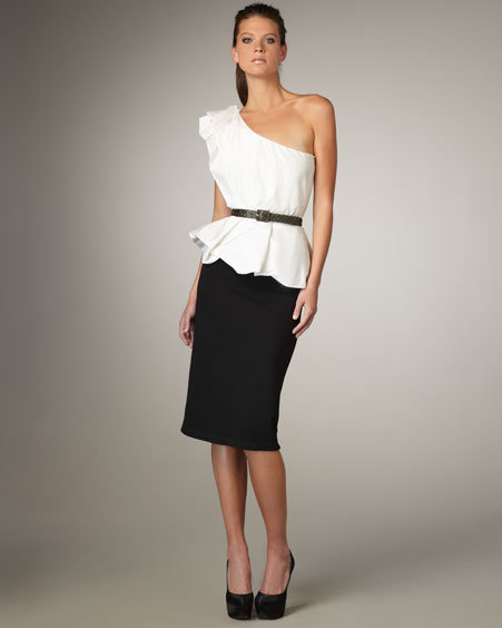 Alice + Olivia Belted One-Shoulder Peplum Dress
