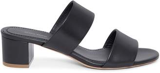 Mansur Gavriel Calf 40mm Double Strap Sandal - Black