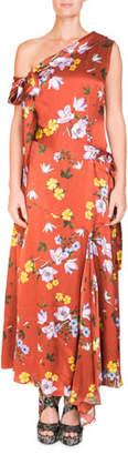 Erdem Zainab One-Shoulder Asymmetric Floral-Print Long Dress with Handkerchief Hem