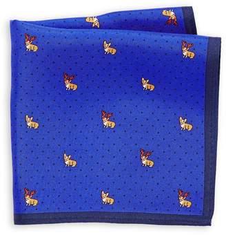 Tommy Hilfiger Christmas Corgi Silk Pocket Square