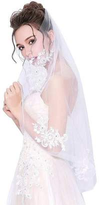 Lava-ring Bride's Wedding Veil Short Veil Single-layer Lace Beading Veil with Comb