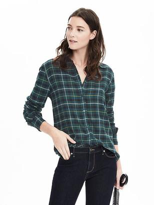 Dillon-Fit Ruffle Cuff Flannel Shirt $68 thestylecure.com