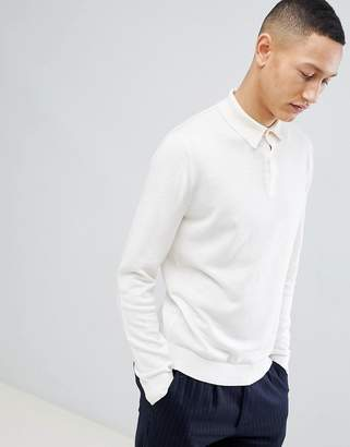 Reiss Long Sleeve Knitted Polo