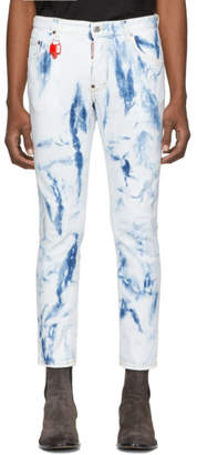 DSQUARED2 Blue Bleached Skater Jeans