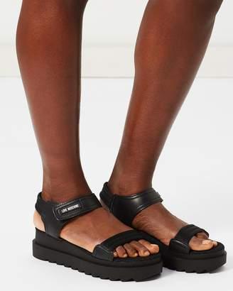Love Moschino Velcro Strap Flatform Sandals