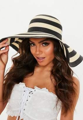 8cb0110d Missguided Black Stripe Floppy Straw Hat, Black