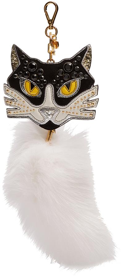 Miu MiuMIU MIU Embellished leather and fur cat key ring