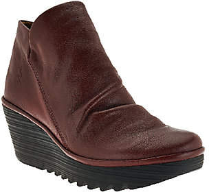 Fly London Leather Ruched Ankle Boots -Yip