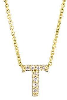 Roberto Coin Women's Tiny Treasures 18K Yellow Gold & Diamond Letter Pendant Necklace