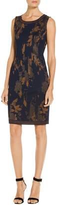St. John Leafed Copper Jacquard Knit Dress