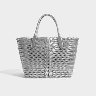 Anya Hindmarch The Neeson Tote In Silver Crinkled Metallic Calfskin
