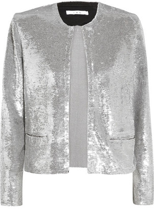 IRO - Omana Sequined Tulle Jacket - Silver $750 thestylecure.com