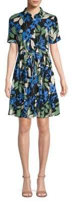 Vero Moda Floral-Print Point Collar Shirtdress
