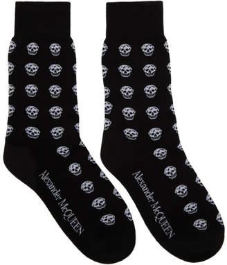 Alexander McQueen Black and White Short Skull Socks