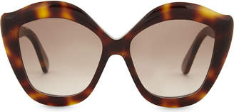 Gucci Ladies Brown Havana Print Modern G0117S Cat-Eye Frame Sunglasses