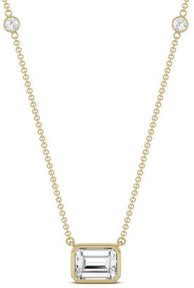 Charles & Colvard Moissanite Emerald Bezel Necklace (1-7/8 ct. tw.) in 14k Yellow or Rose Gold