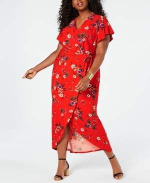 Monteau Trendy Plus Size Faux-Wrap Maxi Dress