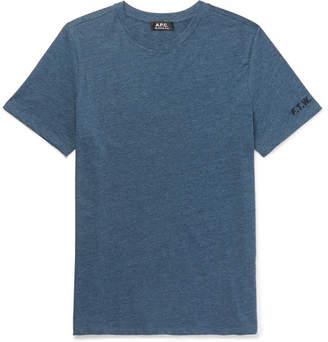 A.P.C. Embroidered Slub Cotton-Blend Jersey T-Shirt