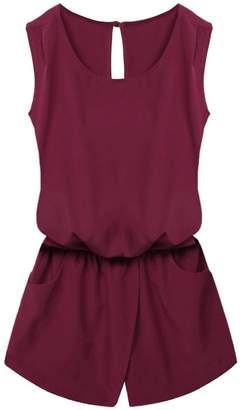 MUJPOM rompers Summer Jumpsuit Women Playsuit Sleeveless Backless Elastic Waist Print Romper XL