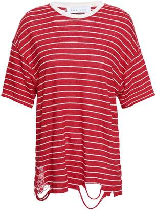 IRO Distressed Striped Slub Linen-jersey T-shirt