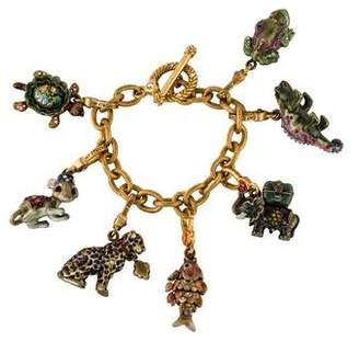 Jay Strongwater Enamel & Crystal Charm Bracelet