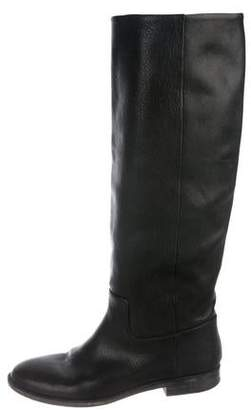 Maison Margiela Leather Knee-High Round-Toe Boots