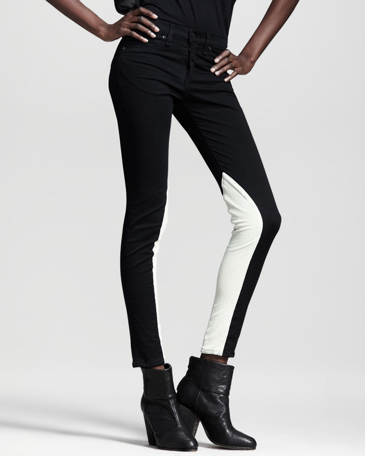 Rag and Bone Jodhpur Leather-Panel Skinny Jeans