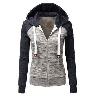 Henraly Fashion-hoodies Sweatshirts Women Hoodies Long Sleeve Hoody Ladies Zipper Pocket Patchwork Hooded Sweatshirt Woman Baseball Jacket Z33