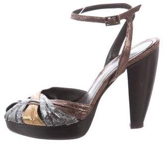 Fendi Metallic Sandal Pumps