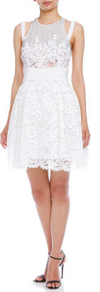 Elisabetta Franchi (エリザベッタ フランキ) - ELISABETTA FRANCHI レース ビーズ ビジュー 装飾 ウエストマーク ドレス ホワイト 40