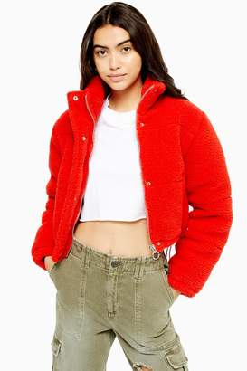 Topshop Womens Petite Red Cropped Borg Jacket - Red