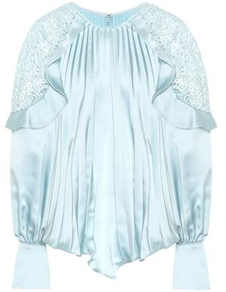 Self-Portrait Lace-shoulder satin blouse