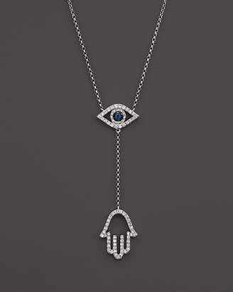 Bloomingdale's Sapphire and Diamond Evil Eye Hamsa Y Necklace in 14K White Gold, 16""