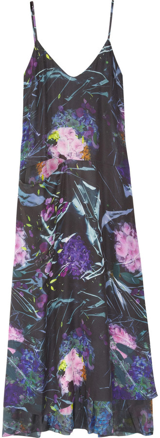 Acne Lora Bouquet floral-print satin and silk maxi dress