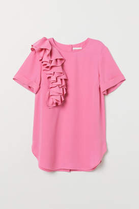 H&M Blouse with Flounce - Pink