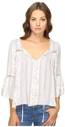 Brigitte Bailey Ebba Bell Sleeve Top with Lace Inset Women's Clothing