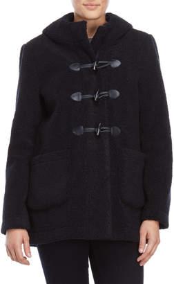Maje Navy Faux Shearling Duffle Coat
