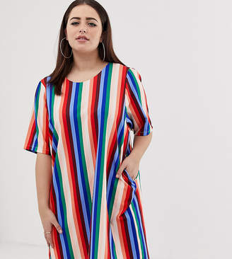John Zack Plus t-shirt dress in muli stripe