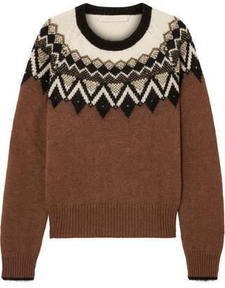 Vanessa Bruno Joleen Metallic Intarsia Alpaca-blend Sweater - Brown