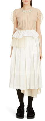 Simone Rocha Deconstructed Pleated Taffeta Midi Dress