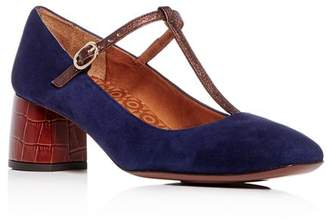 Chie Mihara Women's T-Strap Mary Jane Leather & Suede Block-Heel Pumps